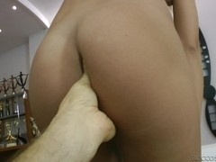 Sexy woman with wet pussy is fingered hard by hot Rocco