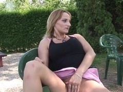 Naughty milf gets boned in yard