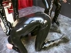 Kinky couple in latex fetish porn action