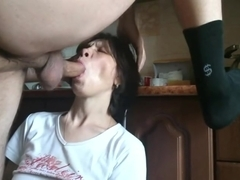 Mature mom gets full load of sperm on her face - rough deepthroat POV