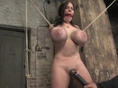 Daphne Rosen and her HUGE tits tied tightly, gagged and orgasmed teased