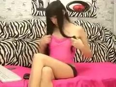 Ukrainian camgirl Emmiliya fondles pussy and fucks her rubber phallus