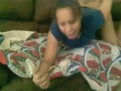 Black girl has wild oral, doggystyle and missionary sex on the sofa.