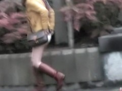 Japanese chick gets her skirt torn in a sharking video