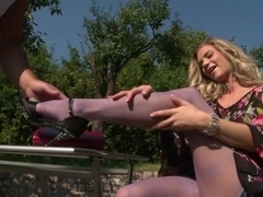 Incredible pornstar Ally Ann in exotic blonde, outdoor porn clip