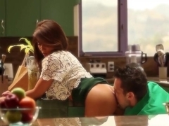 Stunning brunette Madison Ivy fucked on the kitchen table