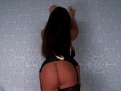 Hot brunette milf Emma Butt teases us with her big boobs and huge ass being bondaged in her own room