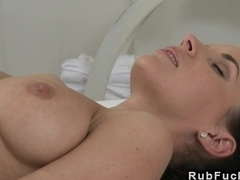 Busty babe pussy massaged and licked
