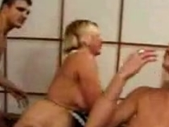 French maid with big tits and a hot blonde in foursome