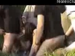 Gangbang in nature with 1 milf and 6 guys