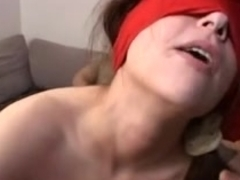 brunette hair blindfold team fuck