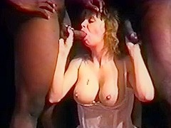 Aged wench taking darksome in cum-hole and arse double penetration