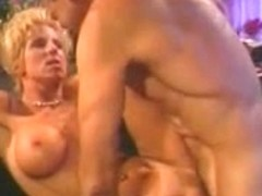 Hawt blondie unfathomable mouths a massive pole in advance of getting gangbanged