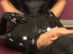 RUBBER FEMALE-DOMINANT AND THRALL, FINGERING, MASKING, VIBRATOR