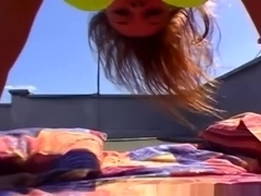Teen redhead outdoor anal on a rooftop