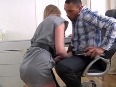 Secretary Milana Fox sucks and fucks her boss's big black dick