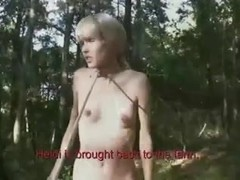 Tied up blonde slut humiliated in the forest