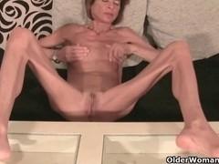 Very slim granny undresses off and masturbates (compilation)