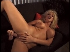 Golden-Haired aged shows her seasoned wet crack and fills it with large vibrator