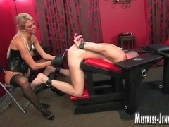 Tall leggy golden-haired Female-Dominator cock and fucking