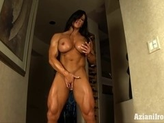 Aziani Steel Angela Salvagno female bodybuilder receive in nature's garb
