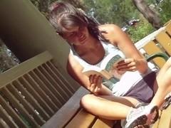 Kinky voyeur upshorts HD video of a nerdy gal