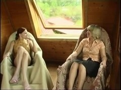 Russian mom fucks girl