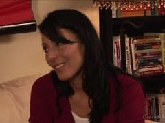 Brunette MILF licked by a young stud