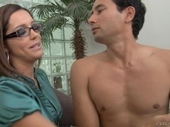 Sexy femdom video in which a humble man sucks a strapon