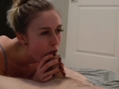 Cum eating girlfriend in action