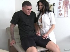 Petite brunette MILF nurse and a huge boner