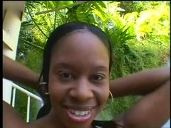 Innocent Black Babe Gets Spit Roasted