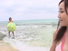 Nice Asian teen enjoys outdoor fucking at the beach