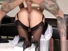 Stockings clad milf facialized