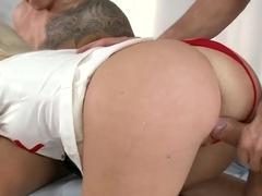 Lusty nurse Isabella Clark has wild threesome