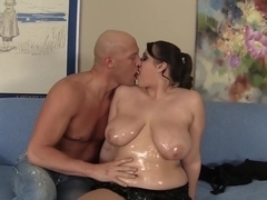 BBW Angel Deluca is oiled up and fucked