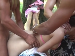 Monica B. in outdoor hardcore vid of a gal and a bunch of guys