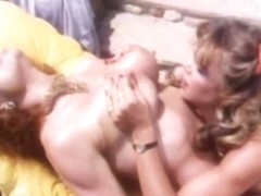 Exotic bald retro scene with Crystal Breeze and Tantula