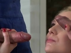 Nataly Von gets pounded on camera by two strong guys