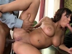 Busty babe loves the thick cock stuffed in her ass while blowing another