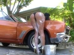 Phoenix Marie cleans up her tits and but instead of car