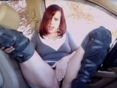 Pussy play in car