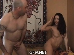 Busty girl struggles with dick