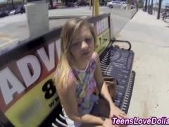 Cute teen tastes cock