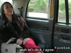 Busty beautiful lady fucking in British fake taxi