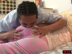 Ebony babe Jenna Ivory sucked her stepdad black hard cock