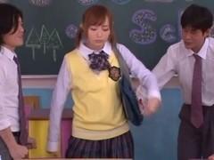 Yuu Namiki nice Asian teen in school uniform in threesome