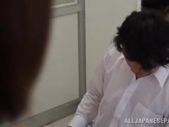 Japanese teacher Yura Kurokawa fucked by two guys