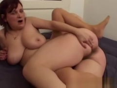 Granny With Saggy Tits Fucks Young Dick