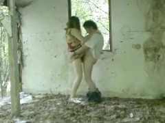 Slut has standup oral, missionary and doggystyle sex in a fucked cabin in the woods.